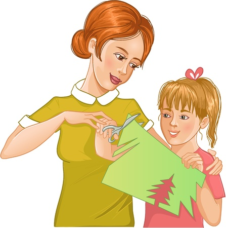 Mother helps daughter to cut color paper and make applique work Vector