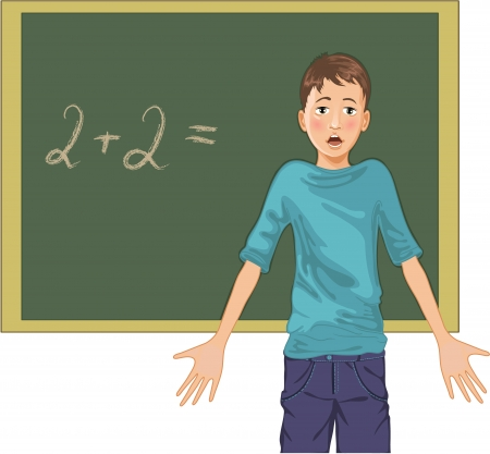 cartoon image of a perplexed boy at blackboard in classroom Vector