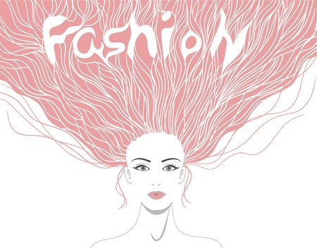 Beautiful lady with hairstyle and word fashion in it Vector