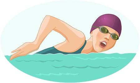 nuoto: Donna Nuoto Vettoriali