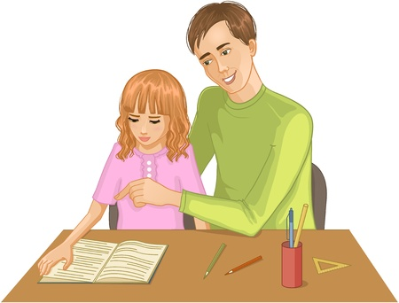 explain: Father helps daughter to read a book