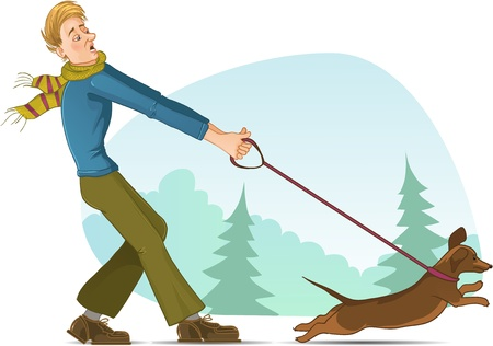 Cartoon man tries to keep a small dog on lead