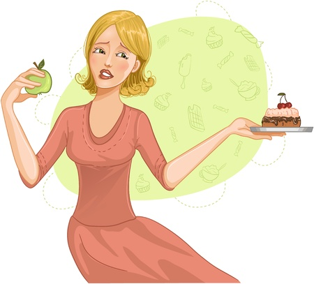 Young woman makes difficult decision between healthy apple and heavy cake