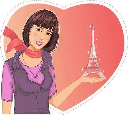 Lovely girl holds an Eiffel tower in hand on a background with heart Vector