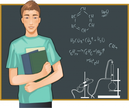 equipment experiment: Student at blackboard cartoon image of a boy with books at blackboard in classroom. Illustration