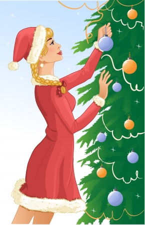 santa girl: Santa girl decorates a christams tree with balls