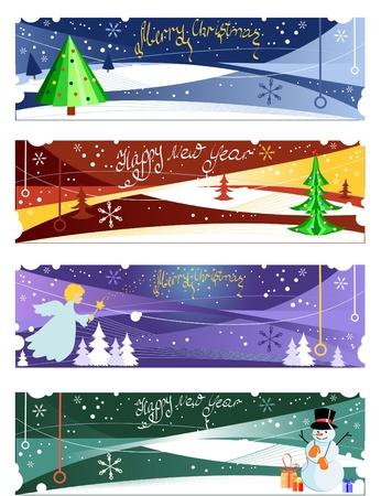 Set van vier vector Kerstmis en Nieuwjaar banners