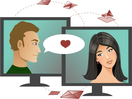 Internet dating. Young woman has chat in Internet with a man, conceptual image of internet dating Illustration