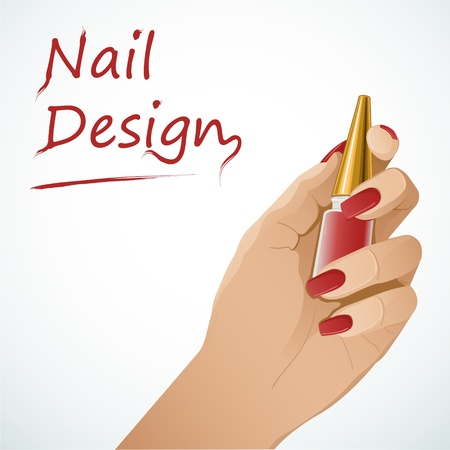 manicure salon: Woman hand holding a bottle with nail lacquer