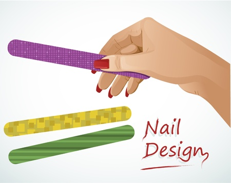 cosmetology: Woman hand holding a nail file