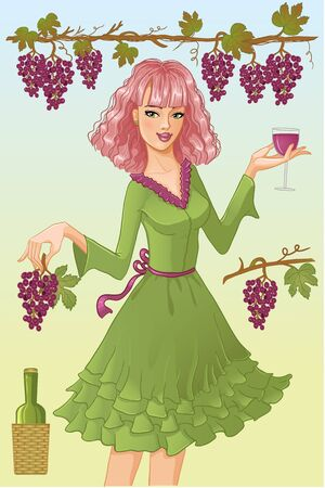 Girl, dolly with glass of wine and bunch of grape Vector