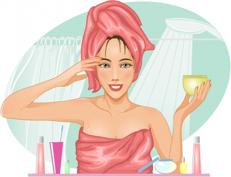 health and beauty: Girl applying cream in the bath