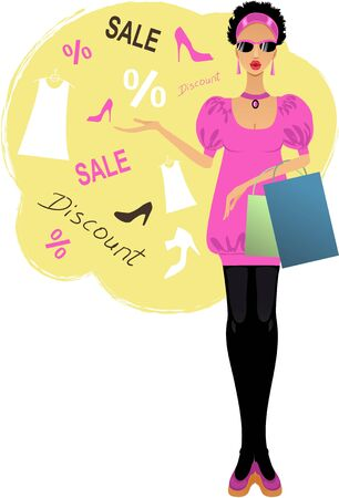 paperbag: Young stylish woman for discount advertisement   Illustration