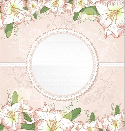 Invitation card with amaryllis flowers