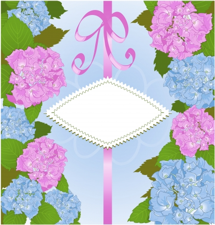 Invitation card with hydrangea flowers Vector