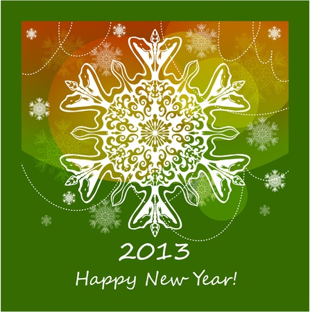 background with snowflake with snake, symbol of 2013 new year Vector