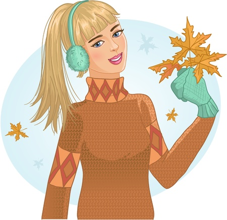 Young woman with autumn maple leaves in hand  Stock Vector - 15940896