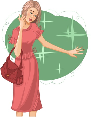 Young woman is excited about a new ring Vector