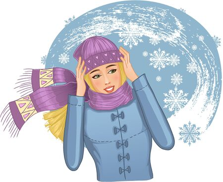 snowstorm: Young woman in snowstorm.  Vector illustration of beautiful girl in warm winter clothes who tries to protect herself from snowstorm