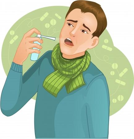 asma: Hombre enfermo con aerosol imagen de un hombre que tiene frío y utiliza spray para la garganta