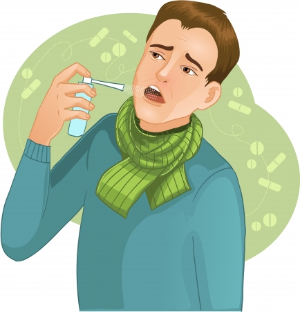 Ill man with  spray  image of a man who has cold and uses spray for throat Stock Illustratie