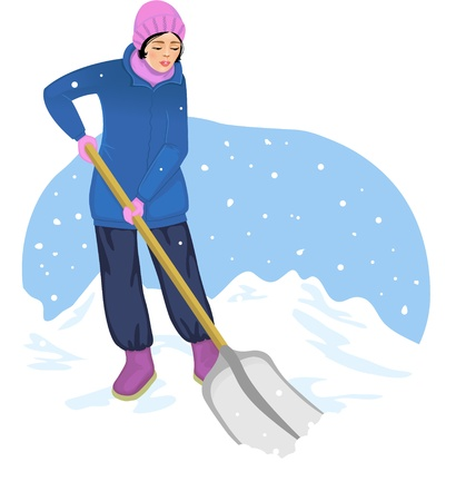 Young woman cleans the road from snow Stock Vector - 17032402