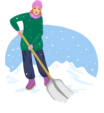 Young cheerful woman cleans the road from snow Stock Vector - 17032401