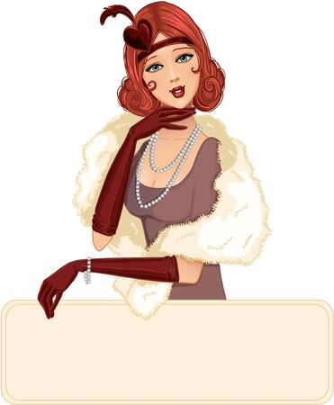 Cute girl in retro style with place for your message Vector
