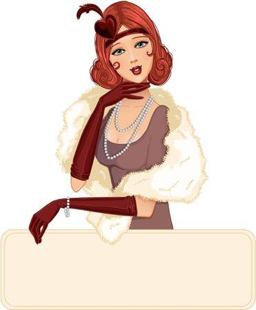 flapper: Linda chica en estilo retro con el lugar para su mensaje Vectores