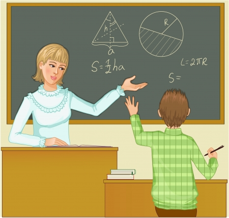 Teacher at blackboard asks children, eps10 Vector