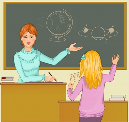 explain: Teacher at blackboard asks children Illustration