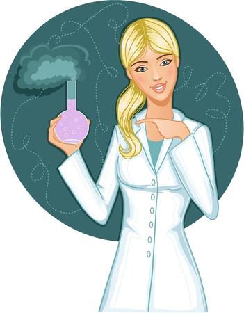 cientificos: Mujer con retorta. Vector de imagen de una mujer joven con r�plica en la mano Vectores