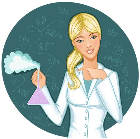 Woman with retort. Vector image of a young woman with retort in hand Illustration