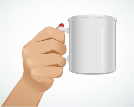 Woman hand with a mug Stock Vector - 17355085