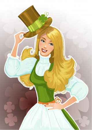 Cute blond girl Leprechaun with hat Vector
