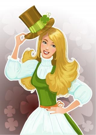 st patric: Cute blond girl Leprechaun with hat Illustration