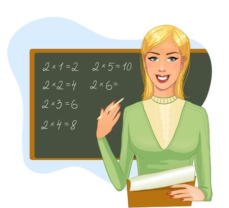 blonde females: Teacher at blackboard