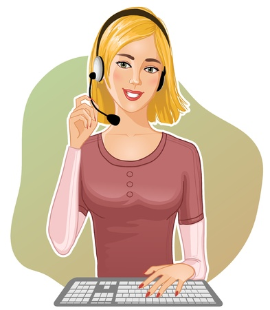call center agent: Young girl a call operator  Illustration
