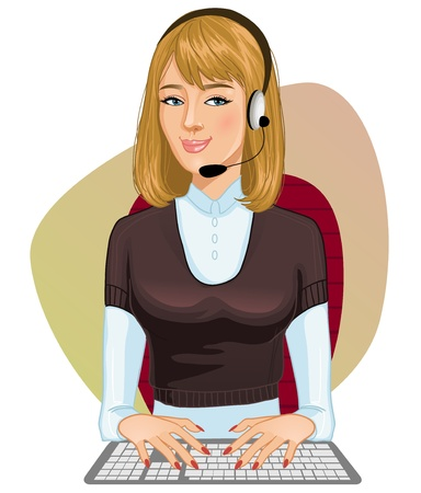 consultant: Young girl a call operator  Illustration