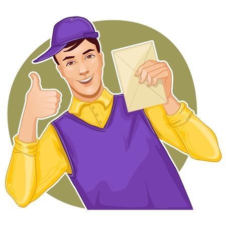 transporteur: Transporteur de courrier avec une lettre