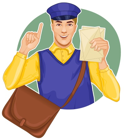 postman: Young postman in a postman uniform with a letter and bag