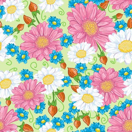 decorative seamless background with a composition of white and pink flowers  Vector