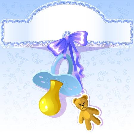 nipple: Baby greetings card with blue nipple Illustration