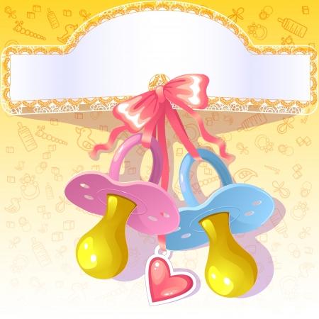 pacifier: Tarjeta de felicitaciones del bebé con el pezón rosado y azul