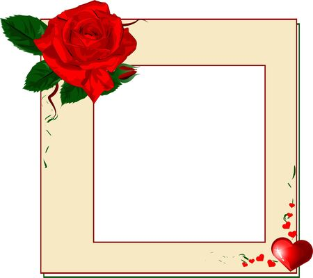 Frame with red rose and heart, EPS10 Vector