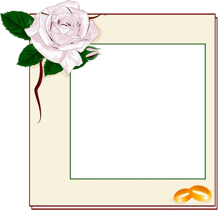 Frame with light pink rose and rings, EPS10 Vector
