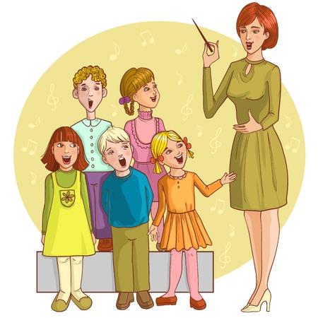 chorus: Music teacher singing with children chorus