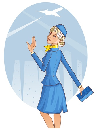 hands in the air: Young cheerful stewardess Illustration