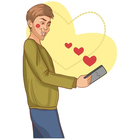 internet dating: Young man fall in love with a woman, conceptual image of internet dating