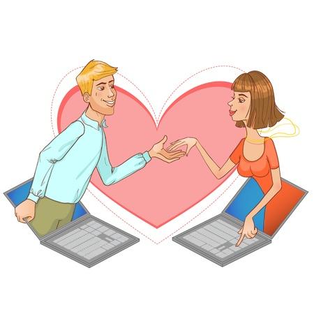 porgere: Internet dating. Giovane donna si innamorano in Internet con un uomo, immagine concettuale di incontri su Internet